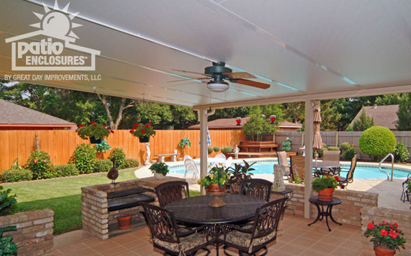 spacious patio with enclosed awning above