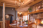 log wood ceiling in dining room thumbnail