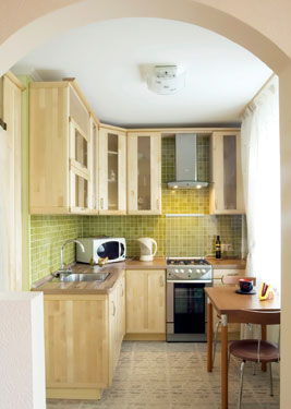 small kitchen with eye-catching backsplash