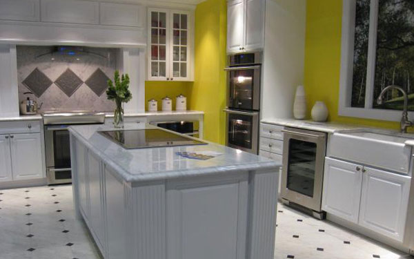 yellow walled kitchen